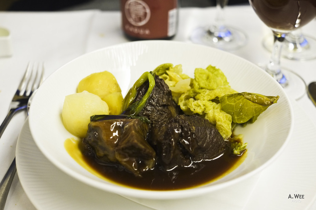 Braised Miyazaki herb beef cheek in Belgian black beer flavored sauce