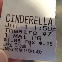 Spontaneous movie at the discount cinema with my beautiful daughter! #cinderella