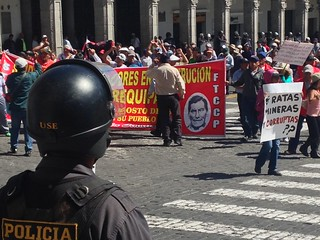 Protests  over mining.   Arequipa, Peru.