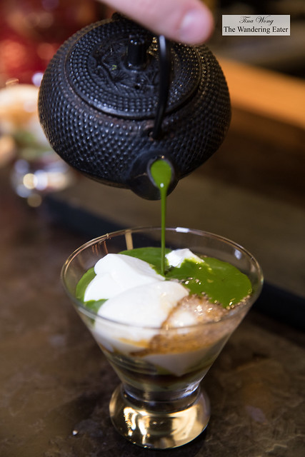 Cold thick matcha topping off the sweet silken tofu, chia seeds and black sesame ice cream