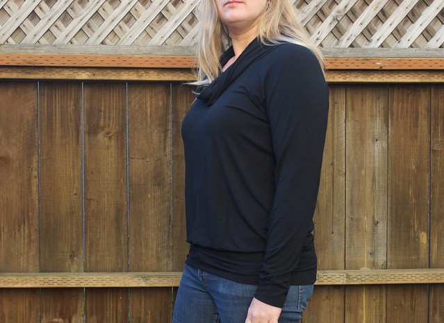 black cowl neck Lane Raglan sideview