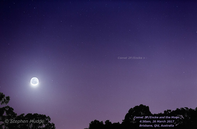 Comet P2/Encke and the Moon v2
