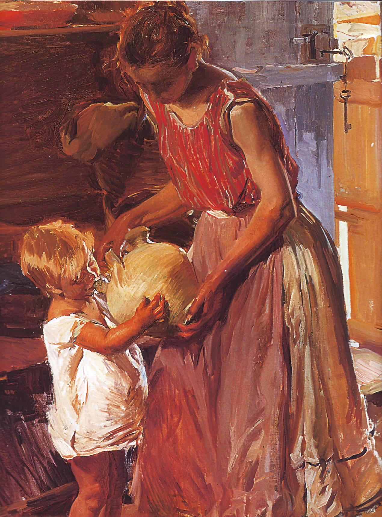 Madre y niño con un botijo. Joaquín Sorolla. Óleo sobre lienzo, 1905