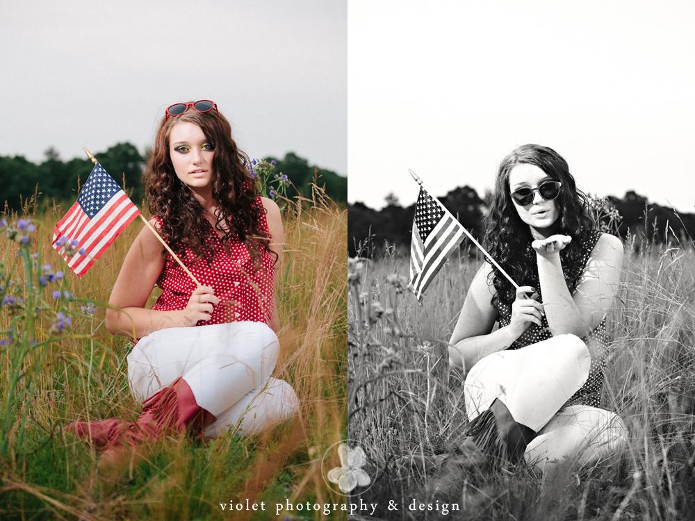 model blowing kisses, american flag photo