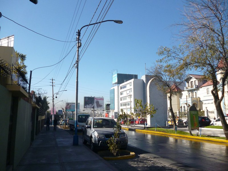 All looks calm on this side of the road in Arequipa in the morning.