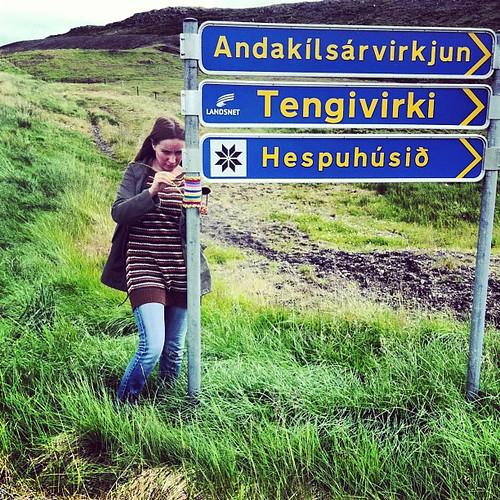 BOOM! #yarnstorm #yarnbombing #yarngraffiti #yarnstorming #crochet #iceland #hespa #borgarfjörður