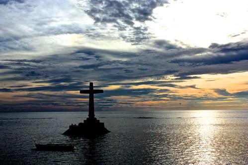 large cross at sundown