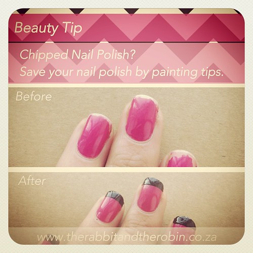 Beauty Tip: Chipped Nail Polish? Save your Nail Polish by painting Tips. This saves your nail polish and looks tea cute! Mix and Match Colors, Have Fun! www.therabbitandtherobin.co.za {follow me @robindeel on Instagram} Official @rabbitandrobin  #beauty #