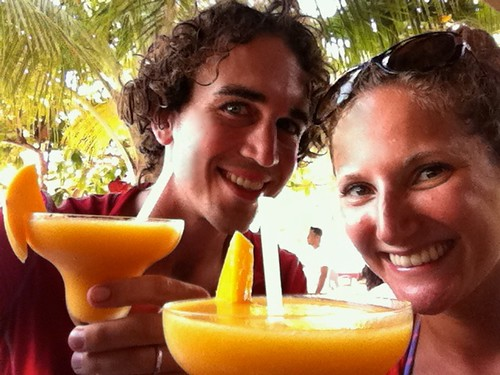 Enjoying fresh mango and rum cocktails