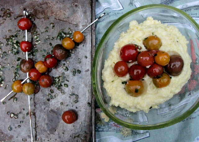 Creamy Polenta with Blistered Cherry Tomatoes