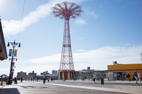 parachute jump, coney island boardwalk