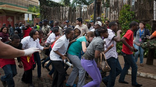People fleeing the Westgate Mall in Nairobi, Kenya. Nearly 40 people were killed there on September 21, 2013. by Pan-African News Wire File Photos