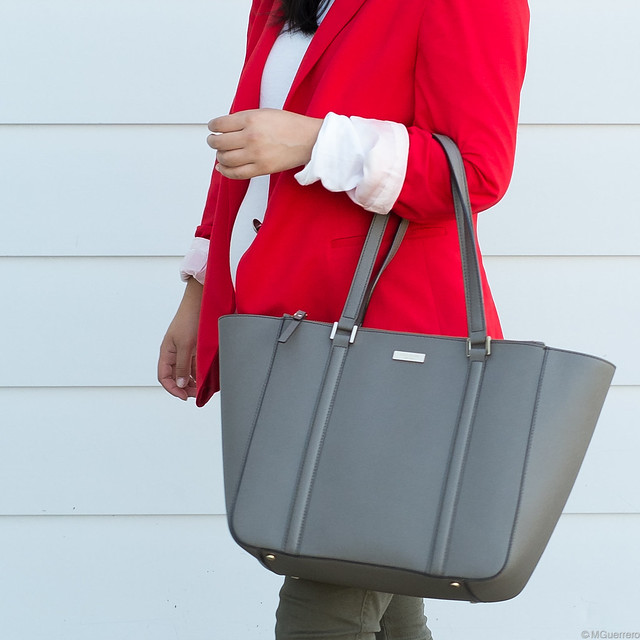Zara red blazer, Kate Spade tote, Kate Spade grey purse