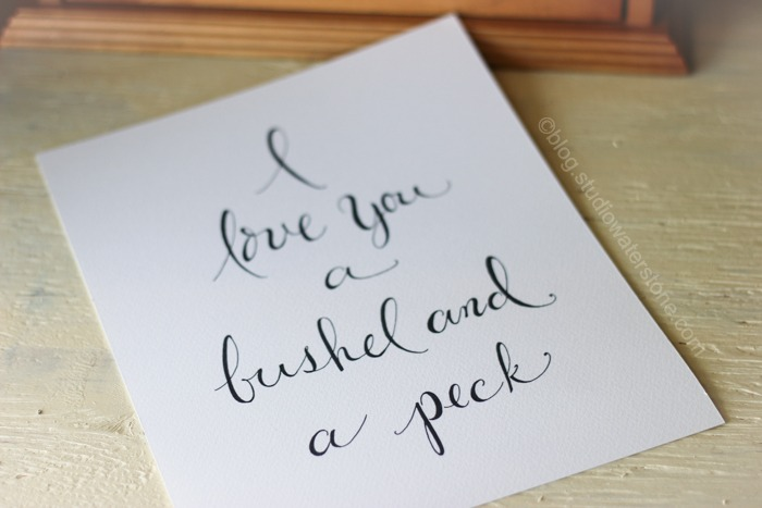 i love you, a bushel and a peck...