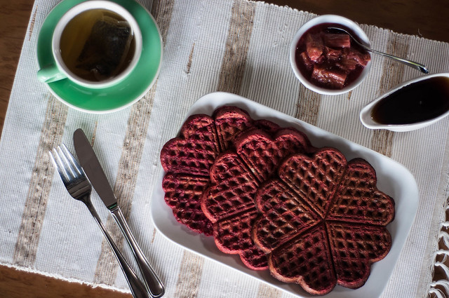 red beet waffles with stewed rhubarb