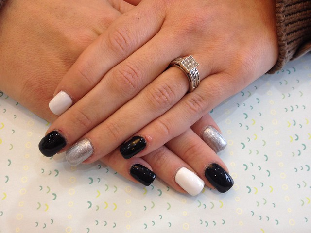 Acrylic nails with black, silver and white gel polish ...