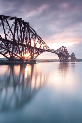 morning bridge sky sun sunlight reflection water clouds sunrise scotland edinburgh bridges slowshutter forthbridge