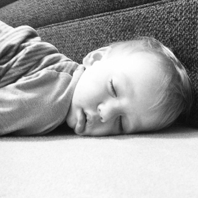 """I asked him if he needed a nap and he screamed """"no!"""" 5 minutes before I took this picture of him passed out on the living room floor. #toddlers"""