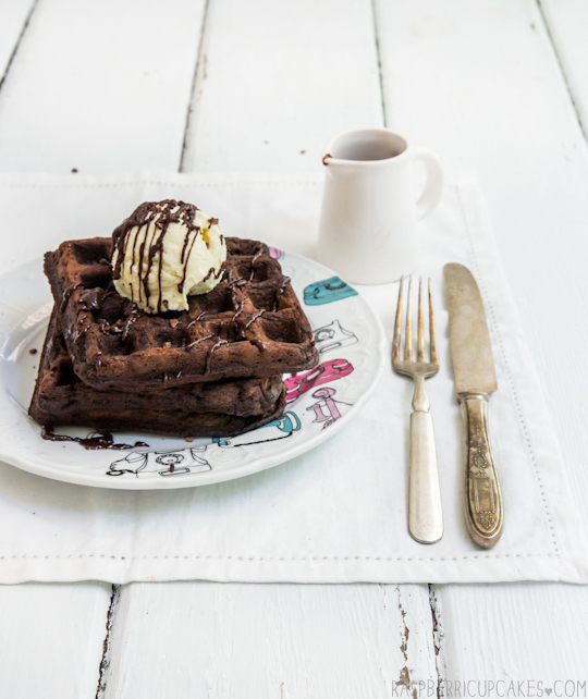 Chocolate Buttermilk Waffles with Fresh Mint Ice Cream