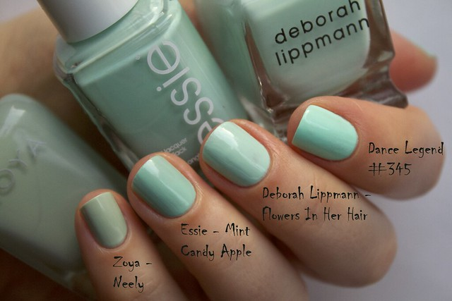 14 Deborah Lippmann Flowers In Her Hair comparison Zoya Neely, Essie Mint Candy Apple, Dance Legend 345