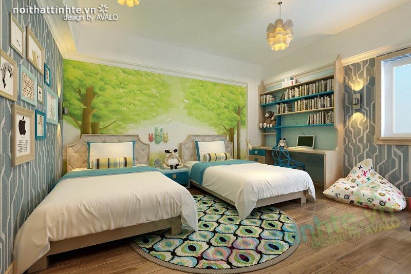 Thiết kế không gian phòng ngủ cho hai con nhỏ