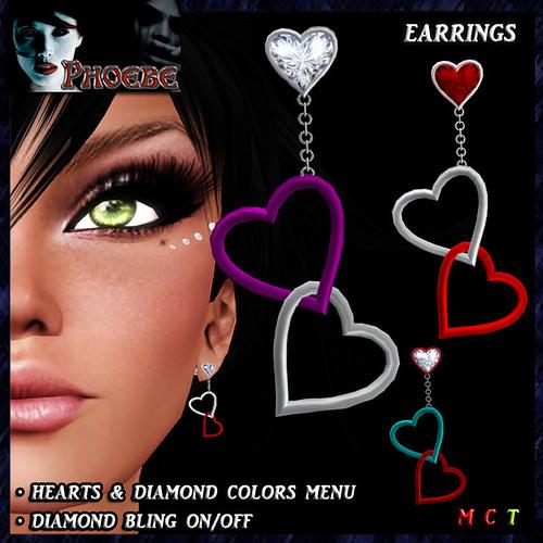 [10L OFFER!] Linked Hearts Earrings ~Colors & Bling~ transfer