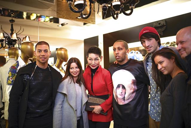 2014 MCM Feb Berlin 28 Marcel Ndjeng and guest, Sung-Joo Kim, Petros Tesfai, Sofiane Benbrahim, Kristin Lehmann and guest