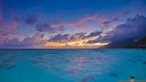ocean sea sun seascape mountains water colors clouds sunrise canon seaside colours clear pacificocean tropical reef seashore hdr digitalphotography moorea frenchpolynesia canon815mmfisheye stephenballphotography canon5dmkiii5d