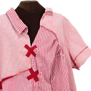Raggedy Annxiety - red checked deconstructed dress, plus-size