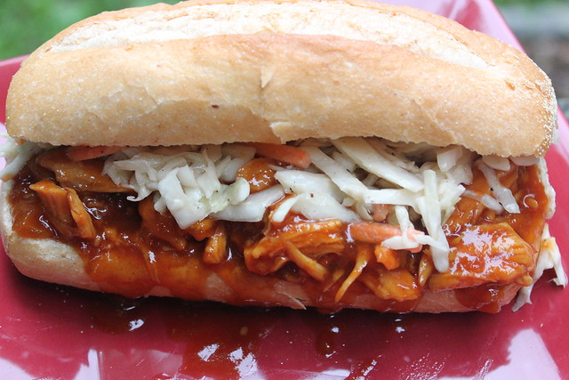 Slow Cooker Apricot BBQ Chicken Sandwiches