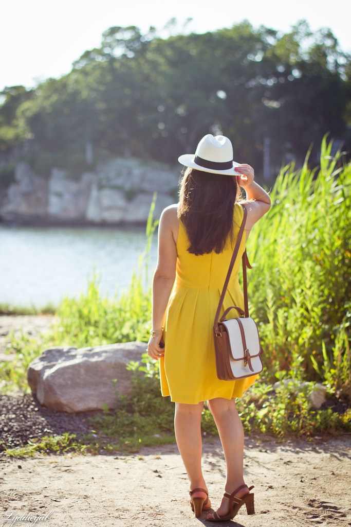 yellow dress, panama hat, summer outfit-3.jpg