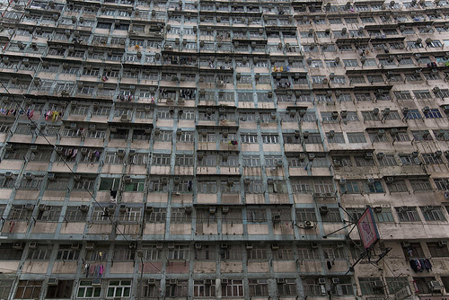 architecture facade dwelling apartment highdensity tenement hongkong d610