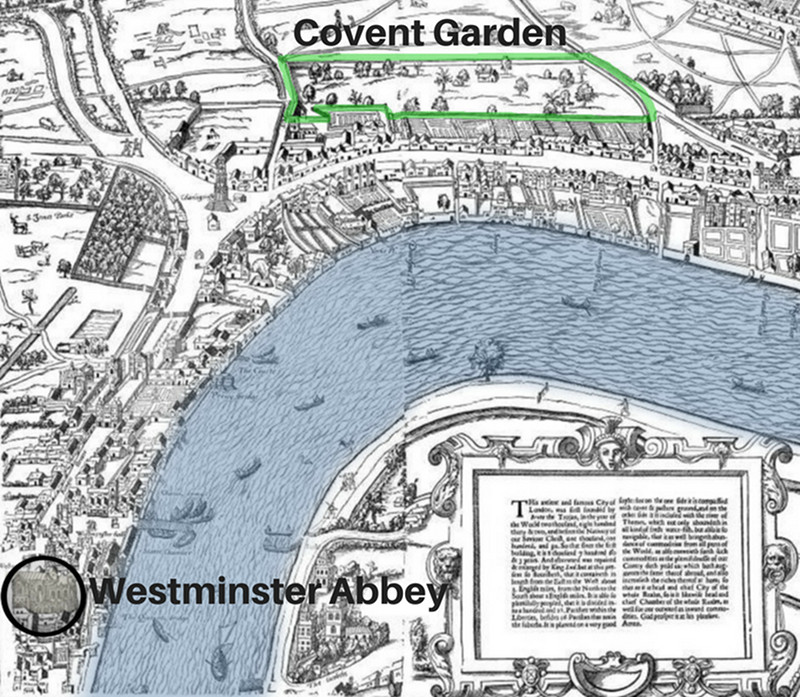 Covent Garden on the City of London in the 1560s with surrounding wall marked in green and Westminster Abbey inside black circle. British Library