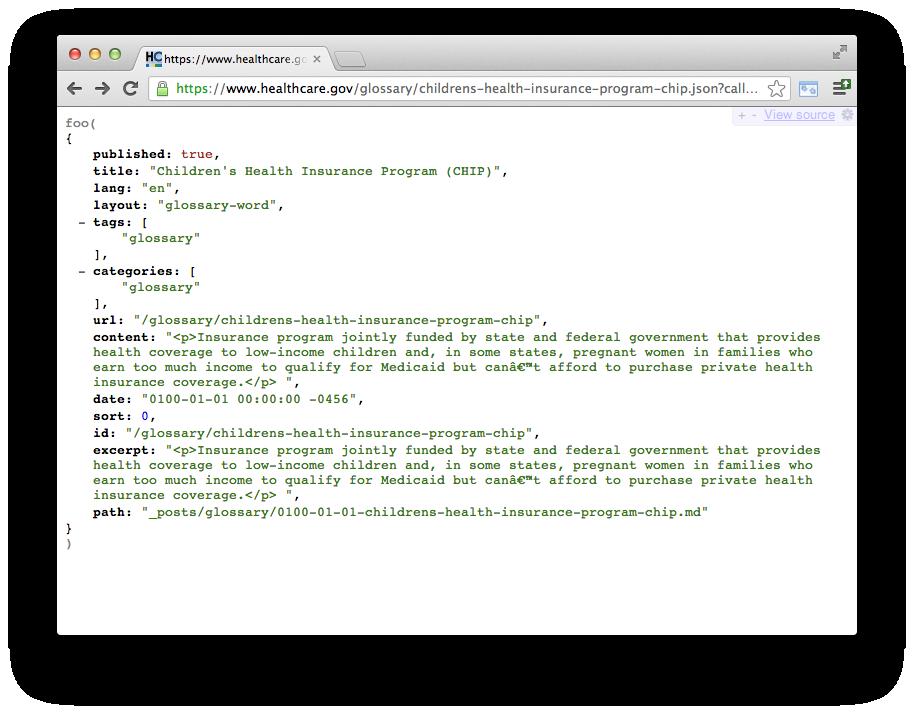 HealthCare.gov content API