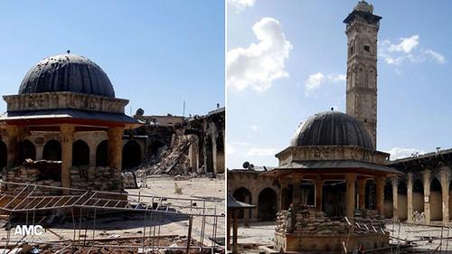 阿勒頗的倭馬亞大清真寺的尖塔於2013年4月24日被破壞。圖片來源:美聯社。