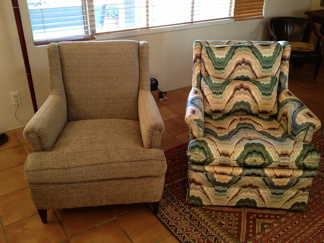 After & Before DIY Wingback Chair Reupholstery