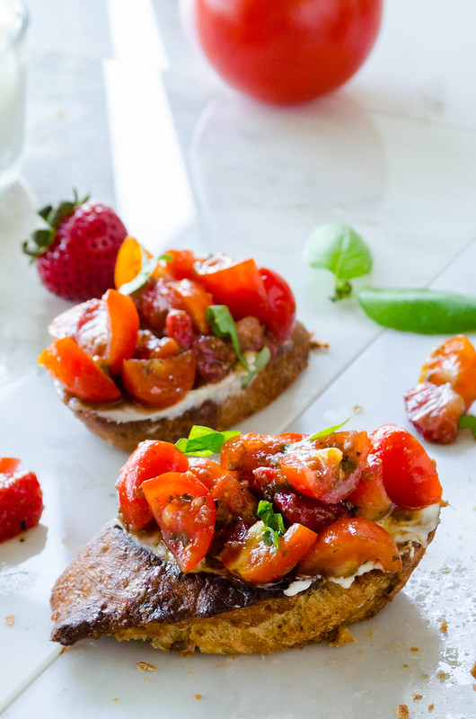 Strawberry Tomato Basil Bruschetta with Blue Cheese Spread