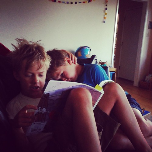boys reading--dieter reads to rainer