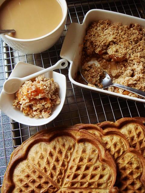 Long Weekend Brunch: Gingerbread Waffles & Apricot Breakfast Crisp