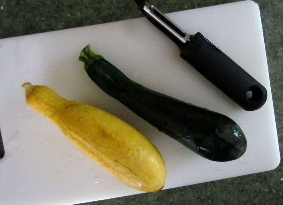 Yellow Squash and Zucchini for Noodles with a vegetable peeler