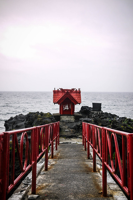 A small shrine on the coast on Rishiri Island, Japan