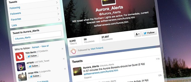 Alertas sobre Auroras Boreales en twitter
