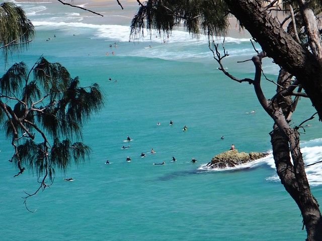 Surfers at Main Beach - North Stradbroke Island