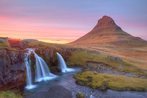 sunset waterfall day cloudy kirkjufell hdr snæfellsnes grundarfjörður snaefellsnes westiceland snæfellsnespeninsula kirkjufellfoss
