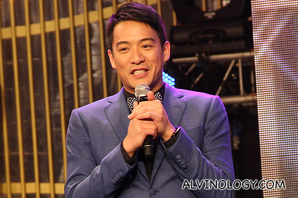 An elated Jason Chan thanking his fans on stage