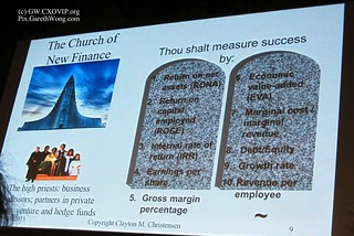 """Church of new finance"" slide, by Prof Clayton Christensen, IMG_0181"