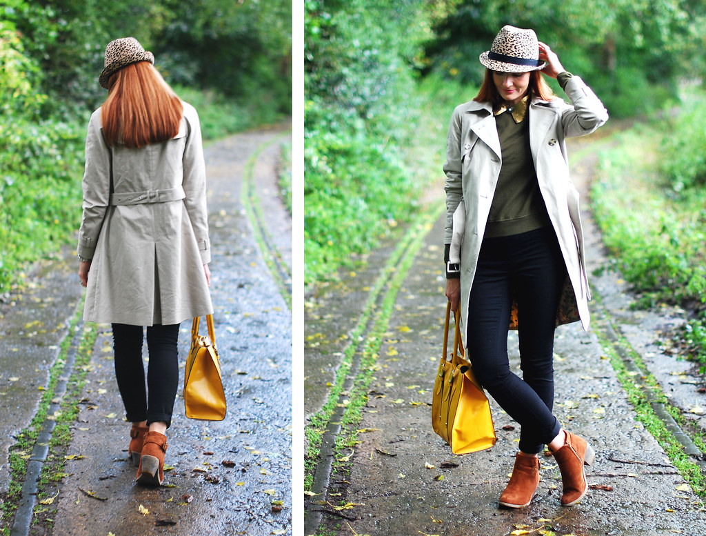 Tan booties, black skinnies, trench coat & mustard yellow tote