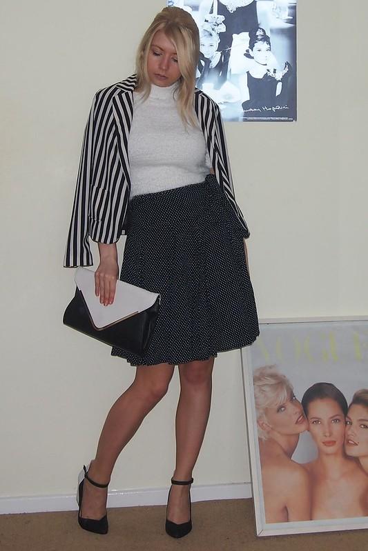 Primark White Cropped Fluffy Eyelash Jumper, Dorothy Perkins Monochrome Wedge Shoes, Ankle Strap, Monochrome, Stripes, Striped Blazer, Clutch, Polka Dot Skirt, Sam Muses, UK Fashion Blog, London Style Blogger, How to Wear, Styling Ideas, Outfit Ideas