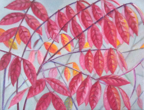Red Leaves (Oil Bar Painting as of October 22, 2013) by randubnick
