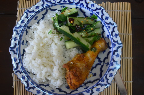Vietnamese Jasmine Rice, Chicken and cucumber salad